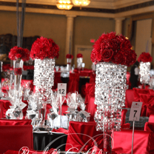 Corporate centerpieces and luxurious seating.