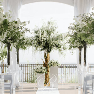 Custom made white floral trees for a ceremony at Palais Royale, Toronto.