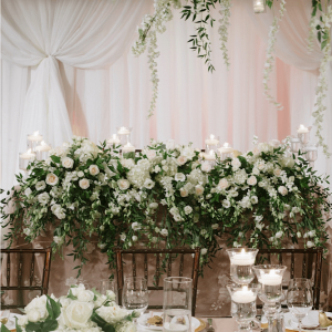 White flower head table at Toronto's Palais Royale Hall