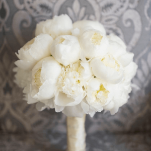 White peonies wedding bouquet & flowers.