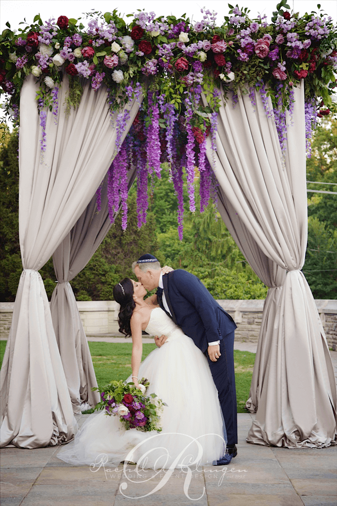 Jessica & Sean's Real Wedding Cascading Floral Chuppah