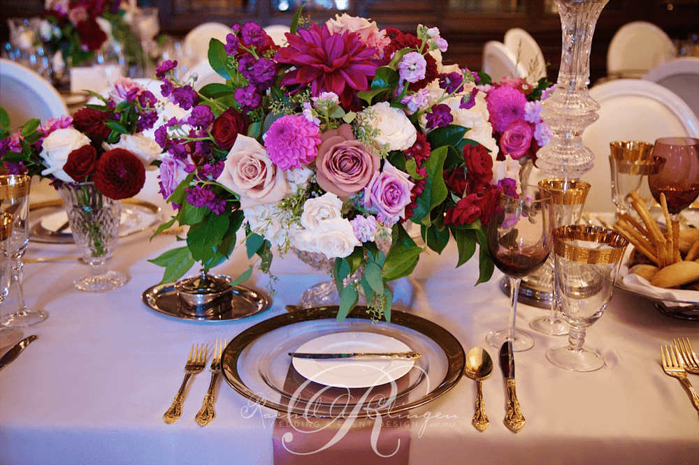 Jessica & Sean's Real Wedding floral centrepiece Casa Loma weddings Toronto