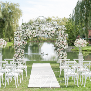 Floral archway canopy outdoor wedding Toronto.