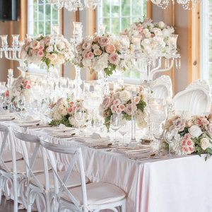 Elegant floral crystal head table decor and details.