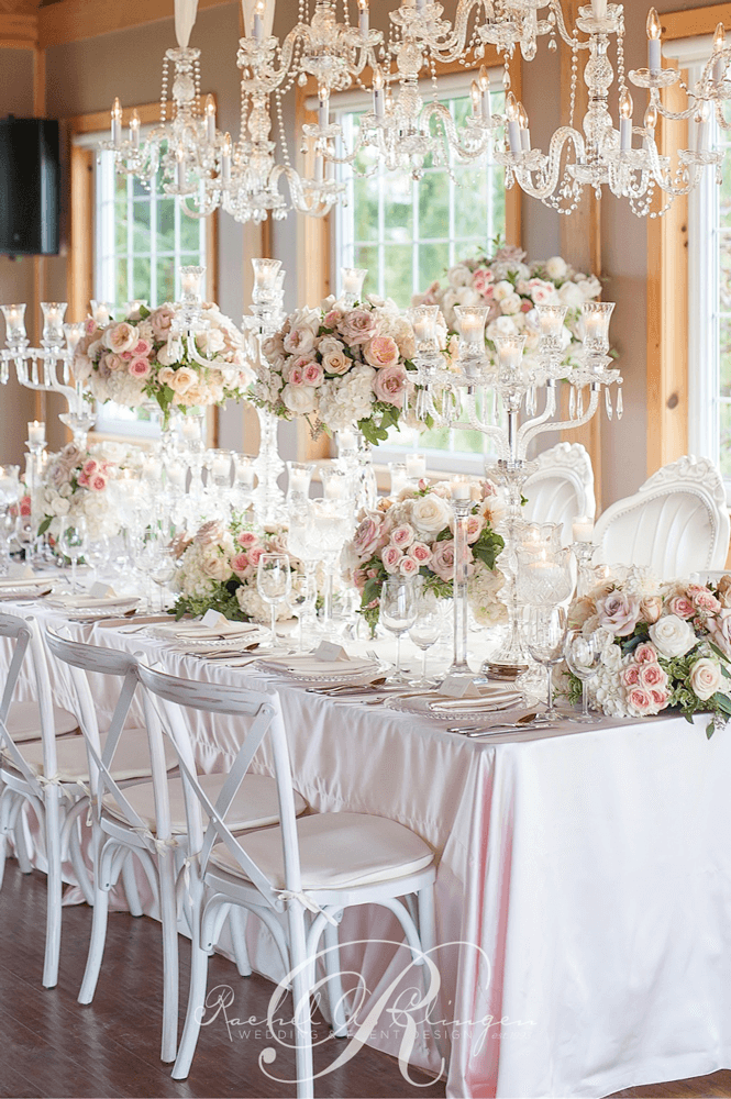 Elegant floral crystal head table decor and details for Floral table decorations for weddings