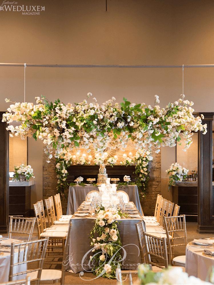 Cherry Blossom Tree Canopy Over Wedding Head Table As