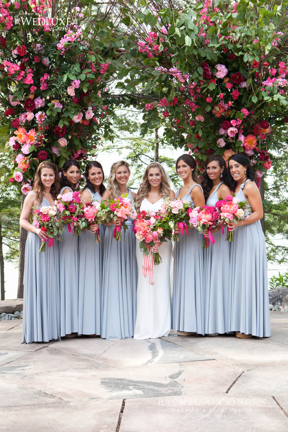 bridesmaids-pink-coral-flowers-canopy