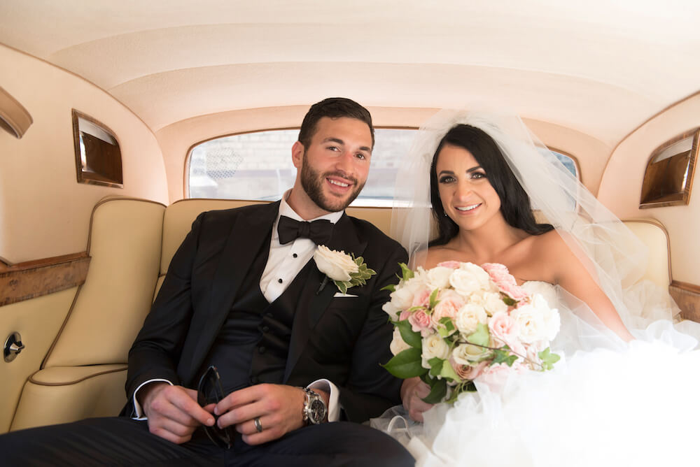 NHL player Anthony Peluso and Courtney were married at the Liberty Grand in Toronto. Wedding designer Rachel A. Clingen designed all the flowers and decor.