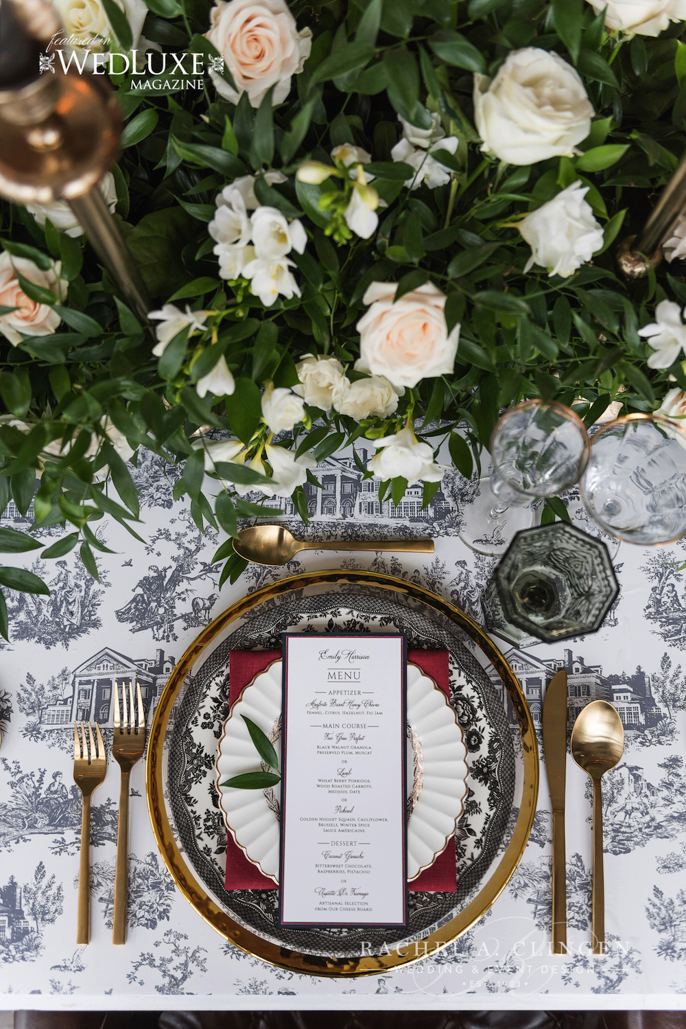 Toile wedding table setting Langdon Hall Wedding