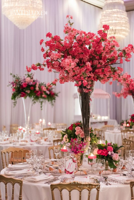 fucshia cherry blossom wedding flowers wedding decor toronto rachel