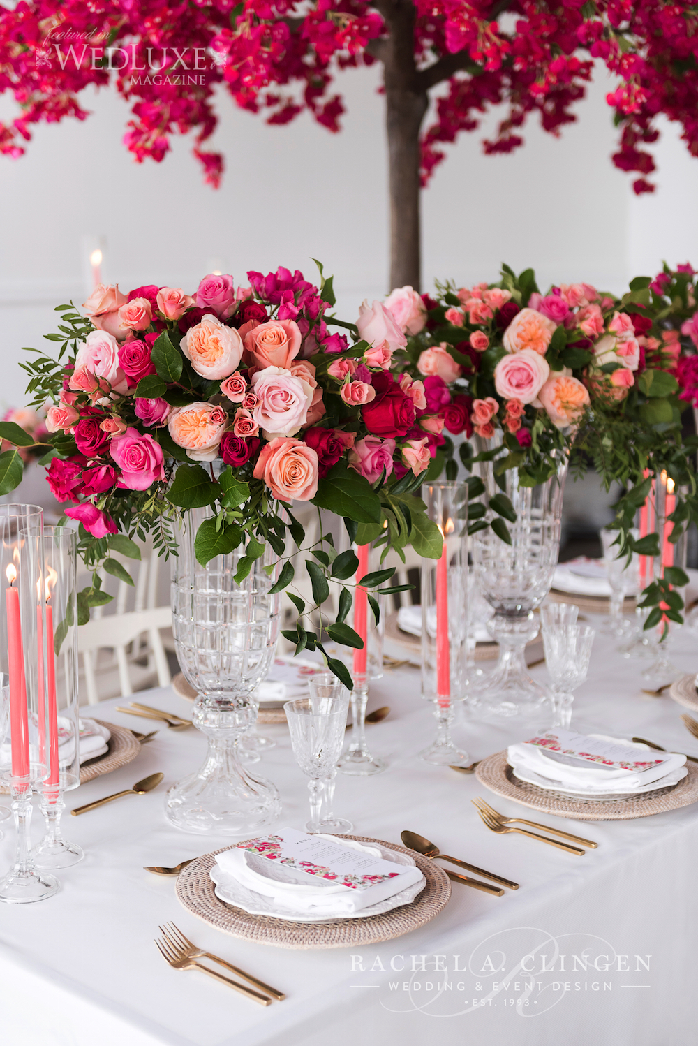 Fucsia Pink Wedding Flowers Centrepieces
