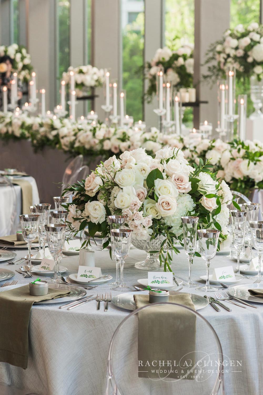 White Green Wedding Centrepieces Decor Toronto Rachel A Clingen Event Design