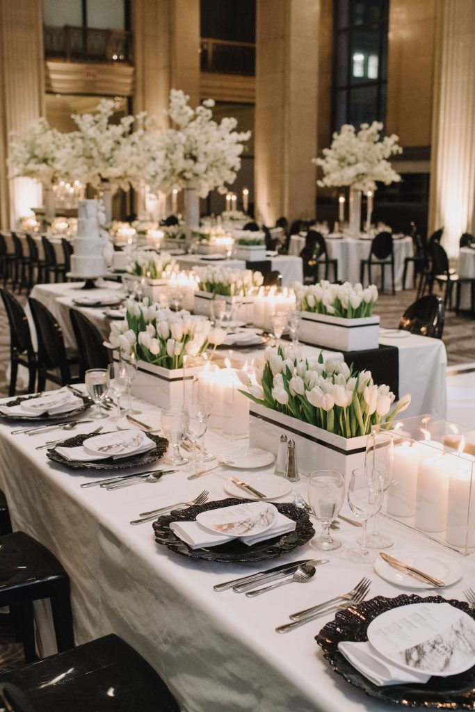 black white wedding decor toronto