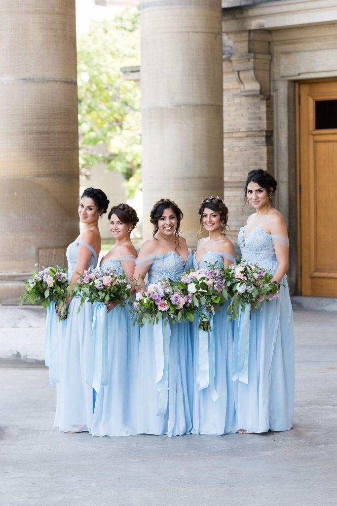 blue pink wedding flowers toronto