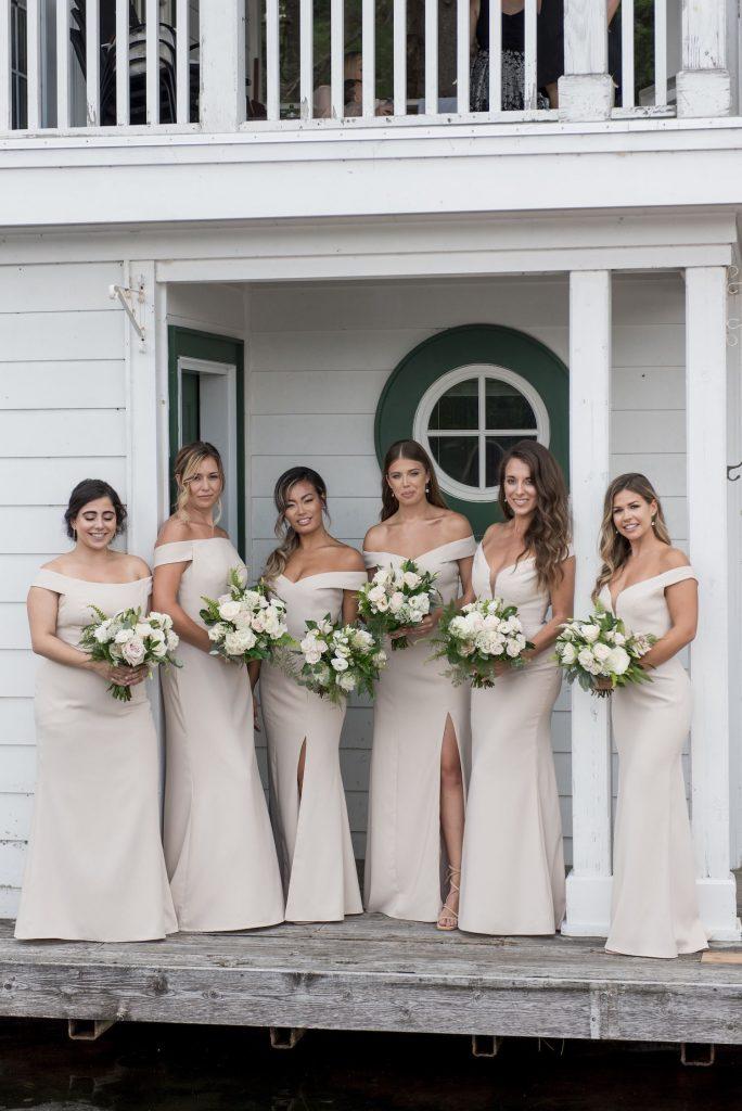 bridesmaids bouquets cream