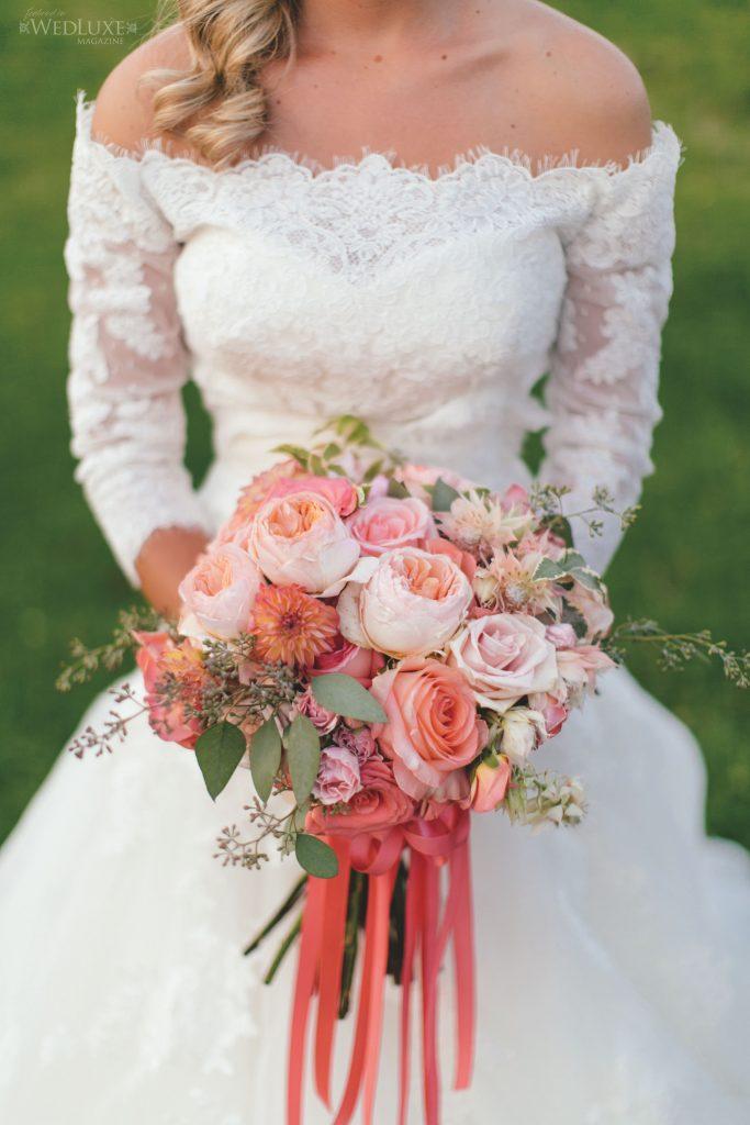 coral peach bridal flowers