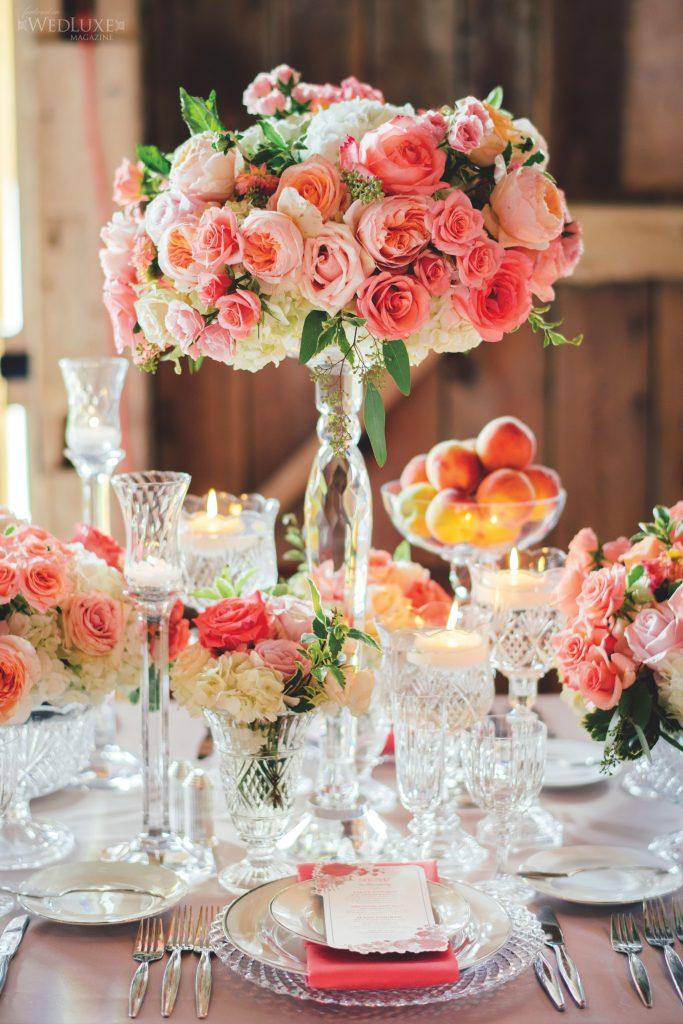 coral pink centrepieces crystal