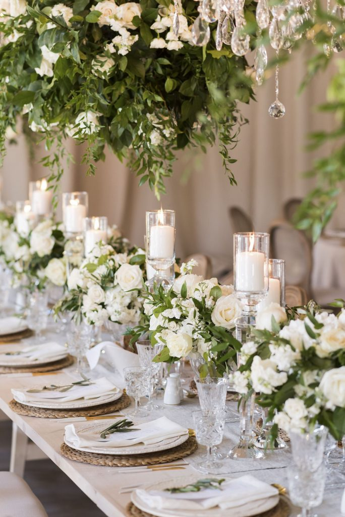 head table flowers cream greens