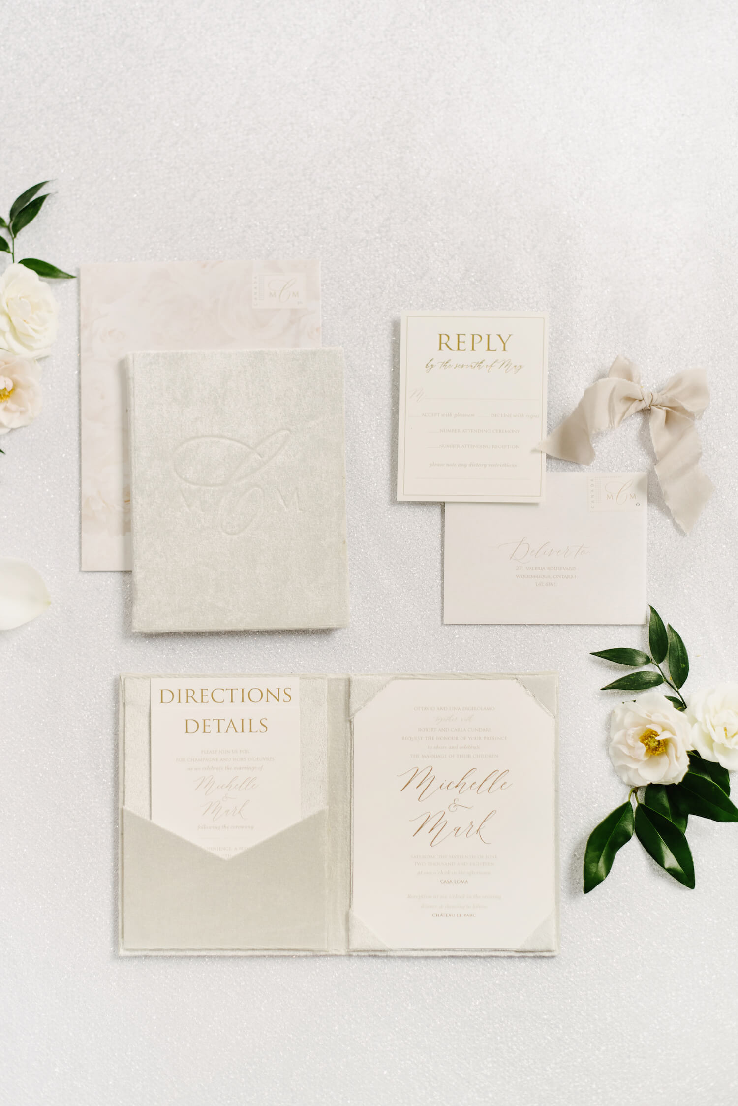 ivory taupe wedding stationery