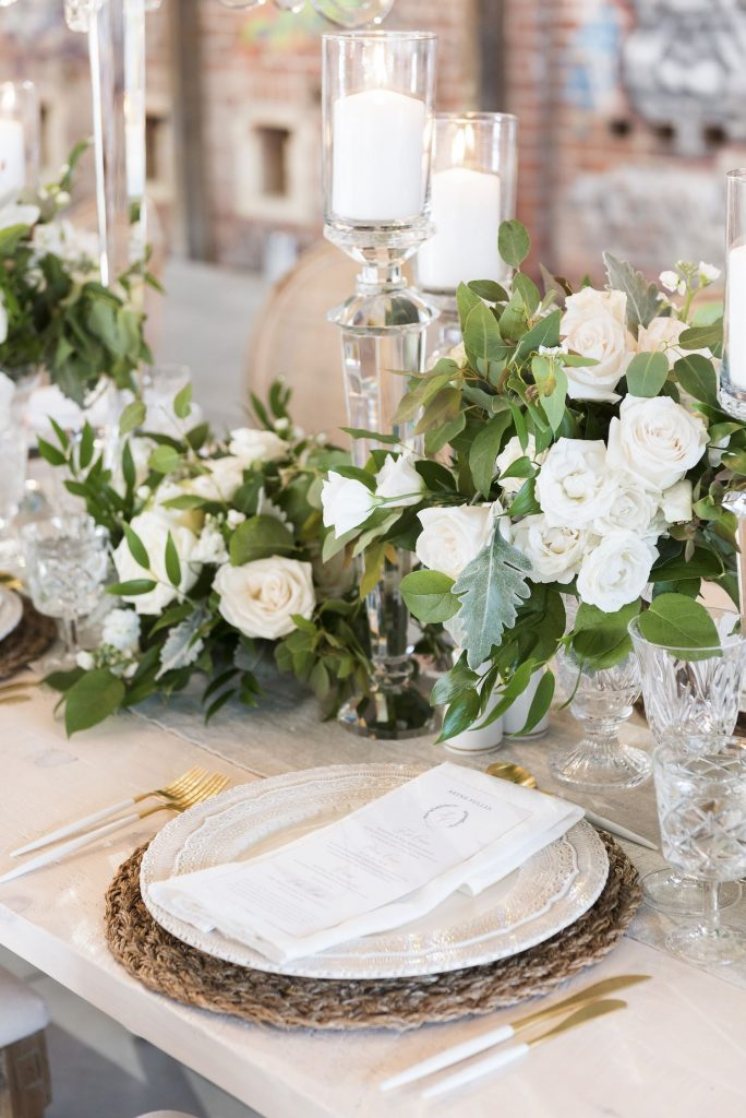 ivory with greens wedding flowers