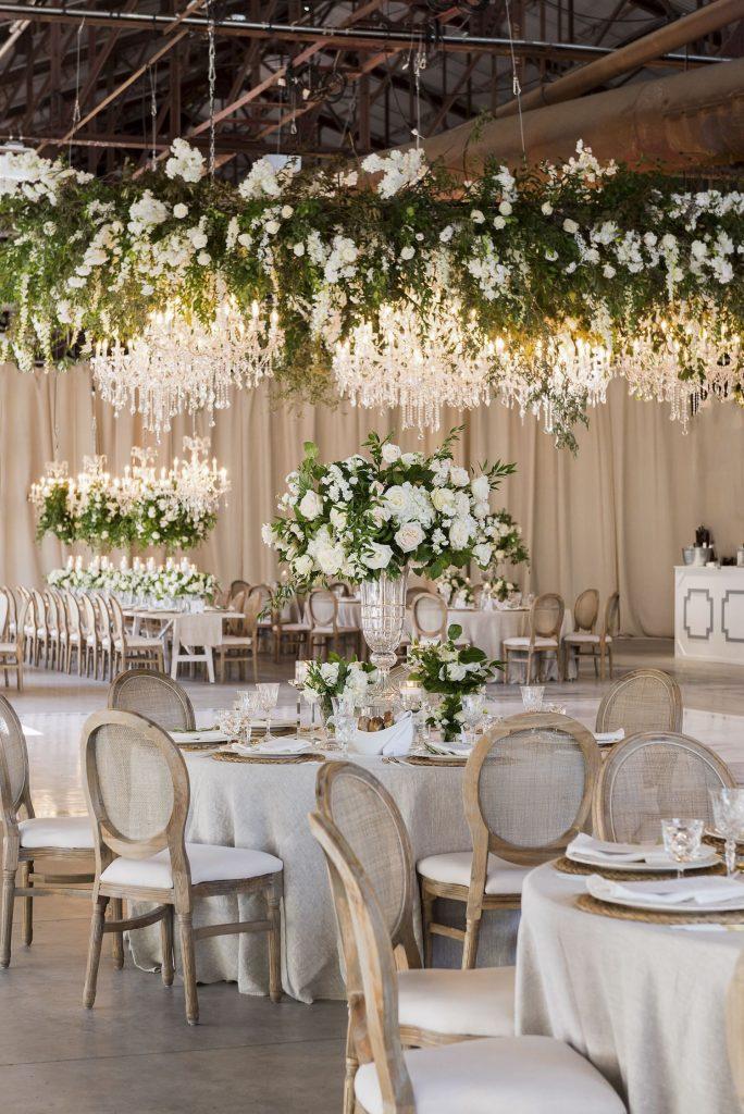 luxury wedding decor toronto hanging flowers