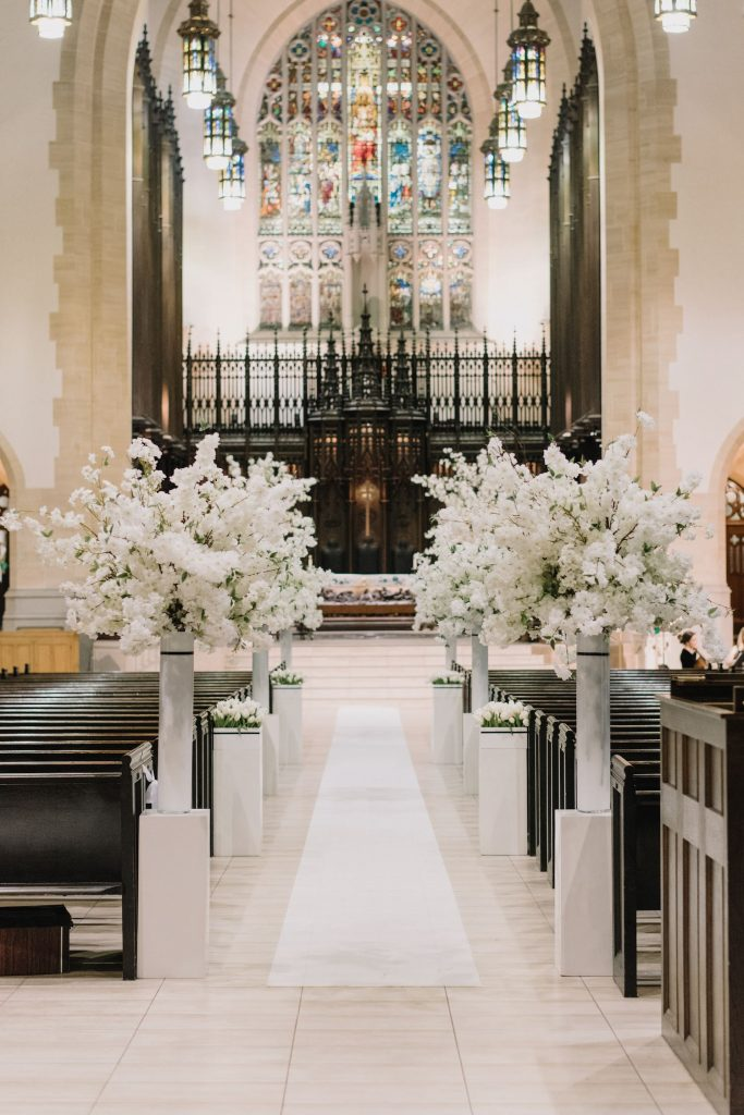 modern white wedding metropolitan united church toronto