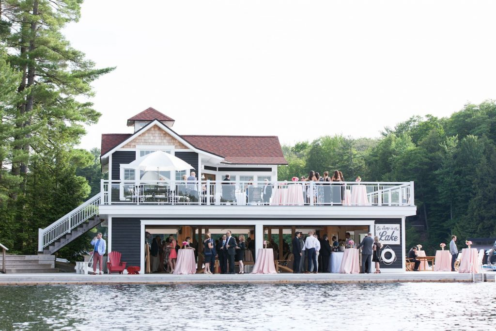 muskoka wedding boat house