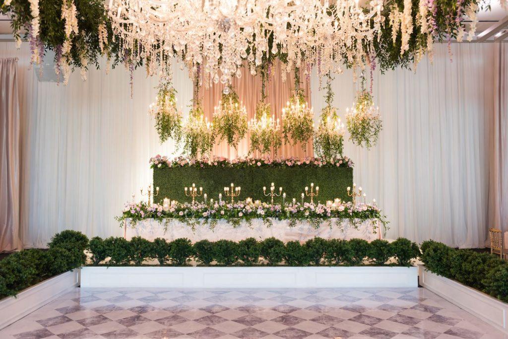 suspended flowers art gallery ontario wedding