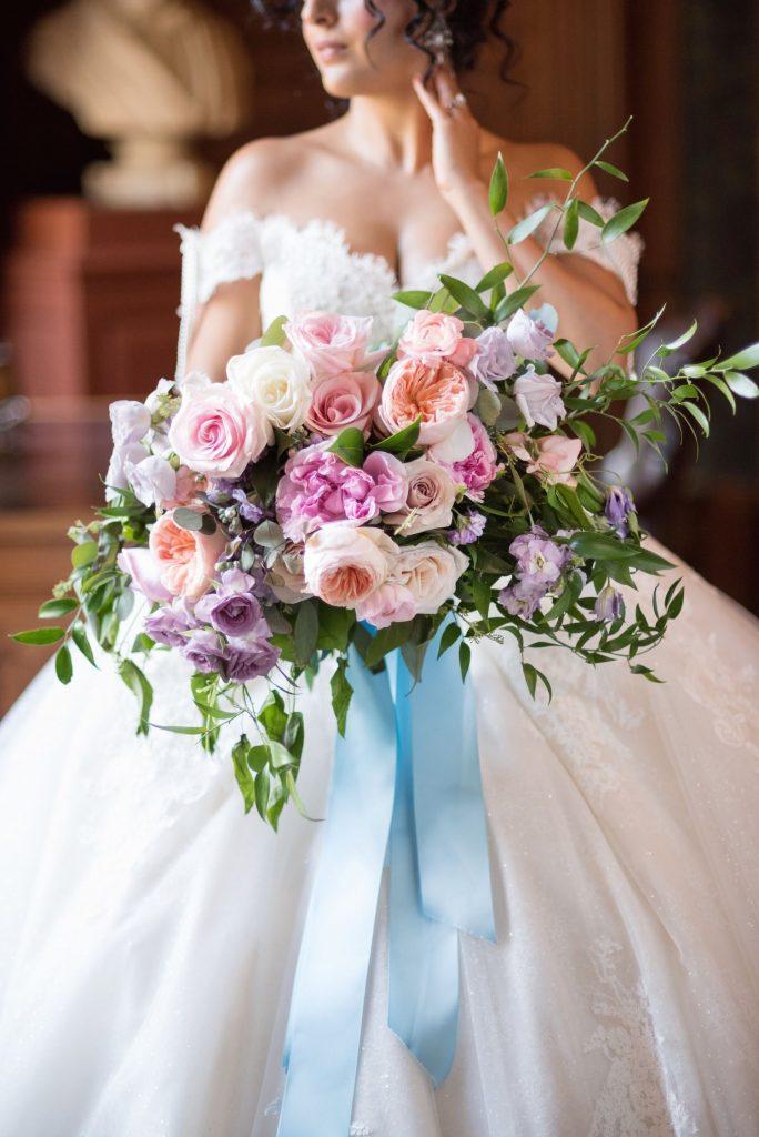 wedding flowers blue pink peach