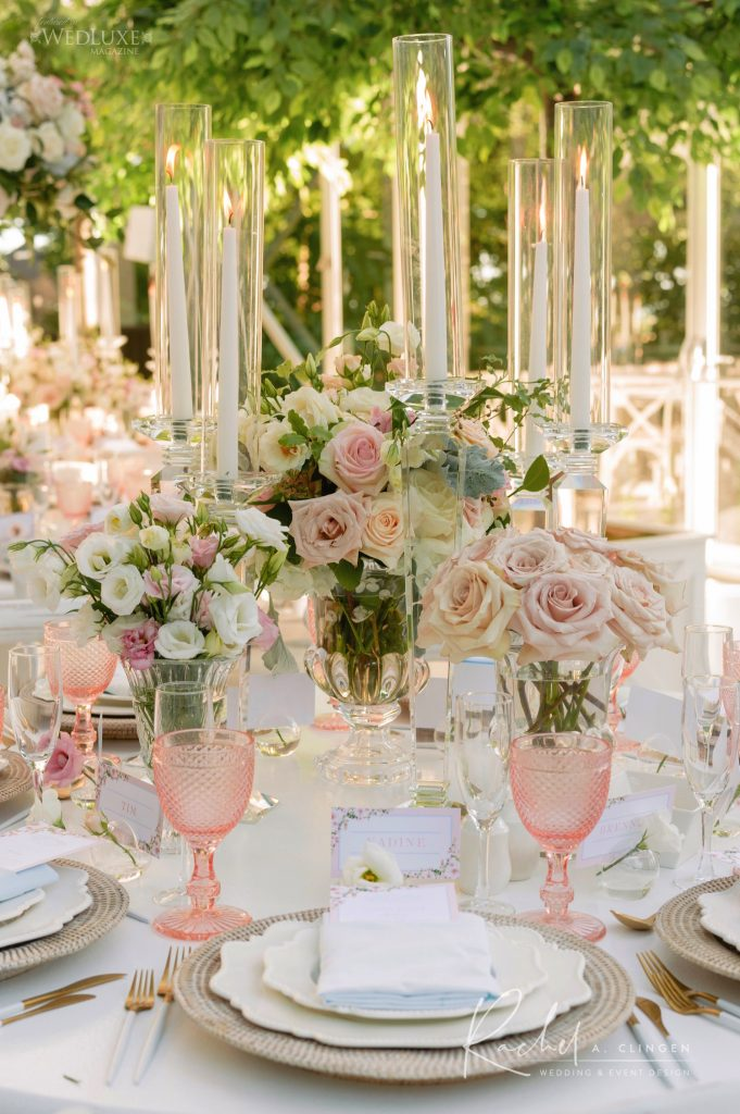 luxury centrepieces toronto pink