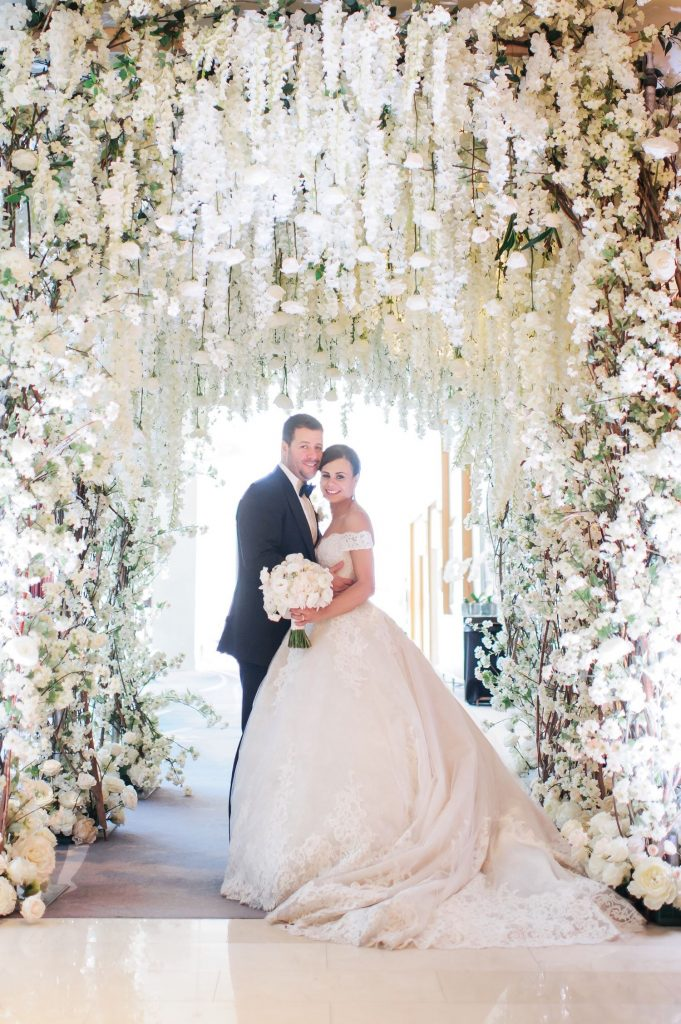 luxury wedding toronto flower tunnel