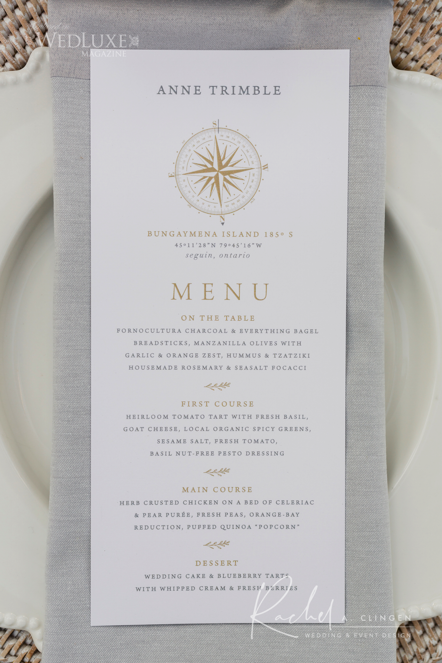 muskoka wedding menu imp