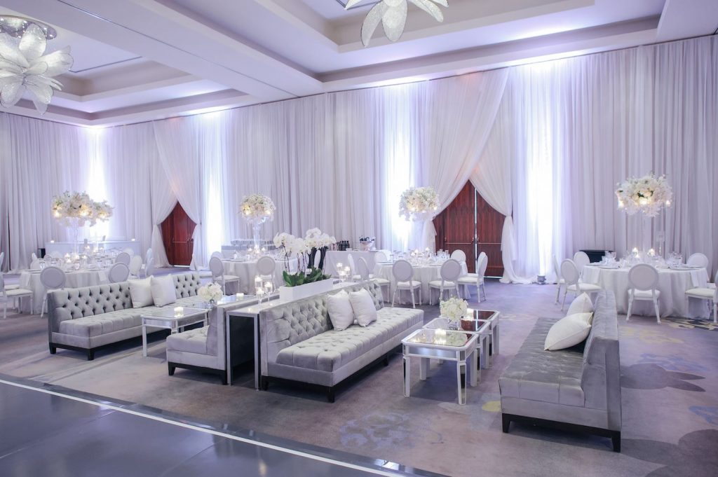 room draping ritz carlton wedding
