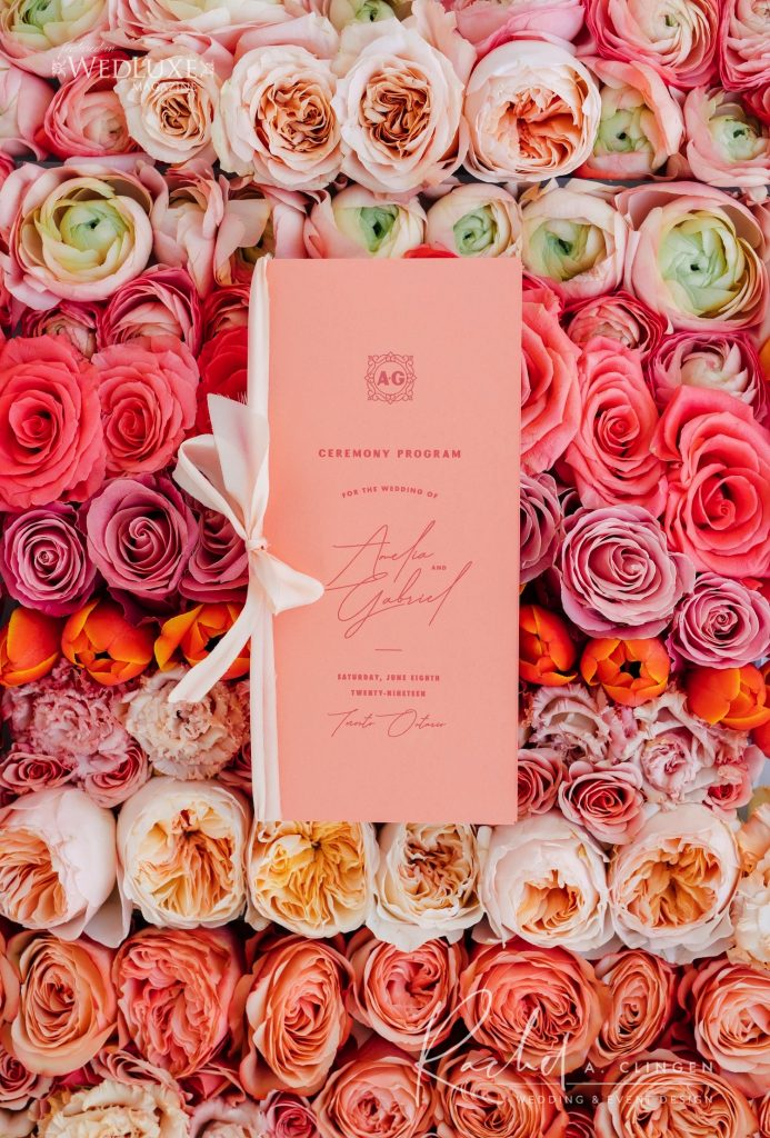 coral pink wedding program imp