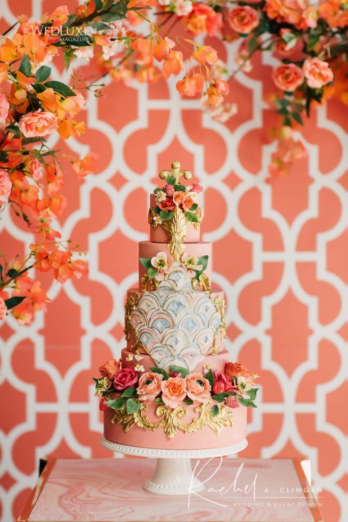 coral wedding cake toront imp