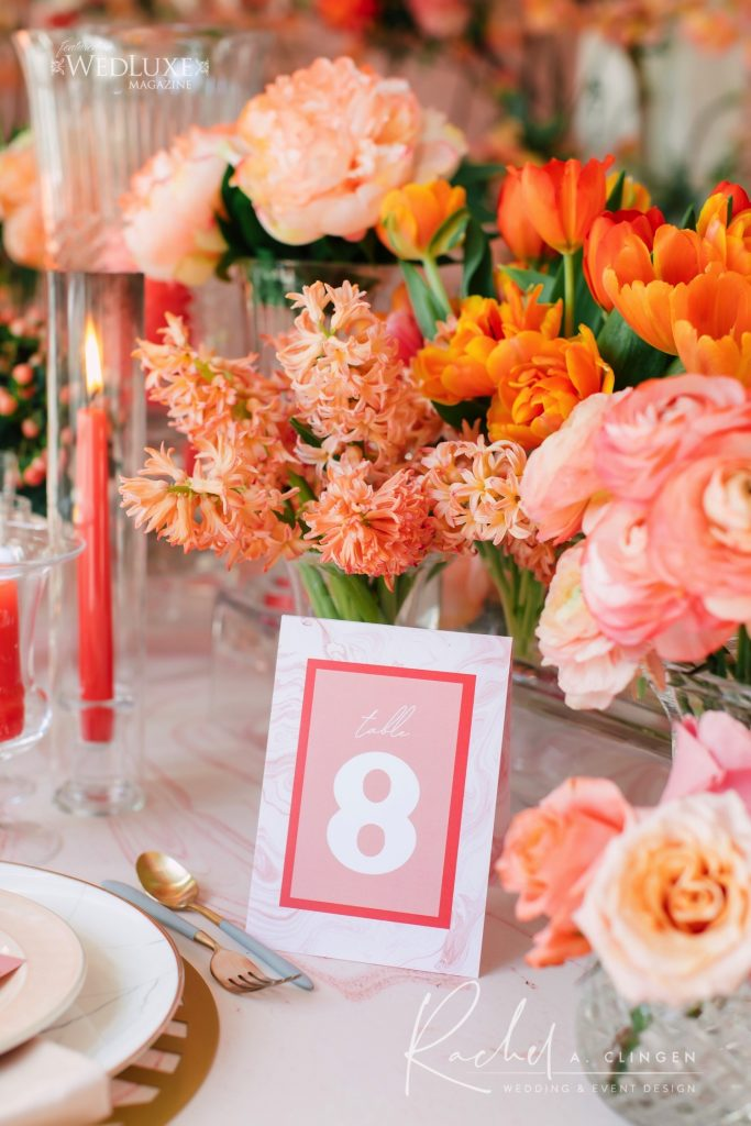 coral wedding flowers table number imp