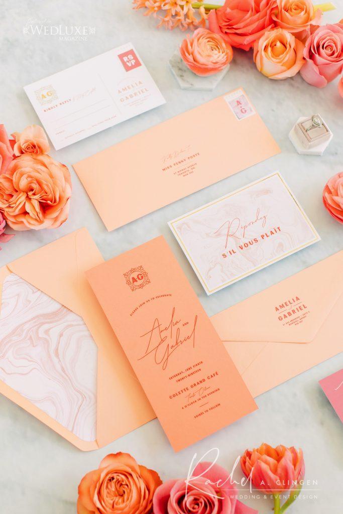 coral wedding stationery toronto imp