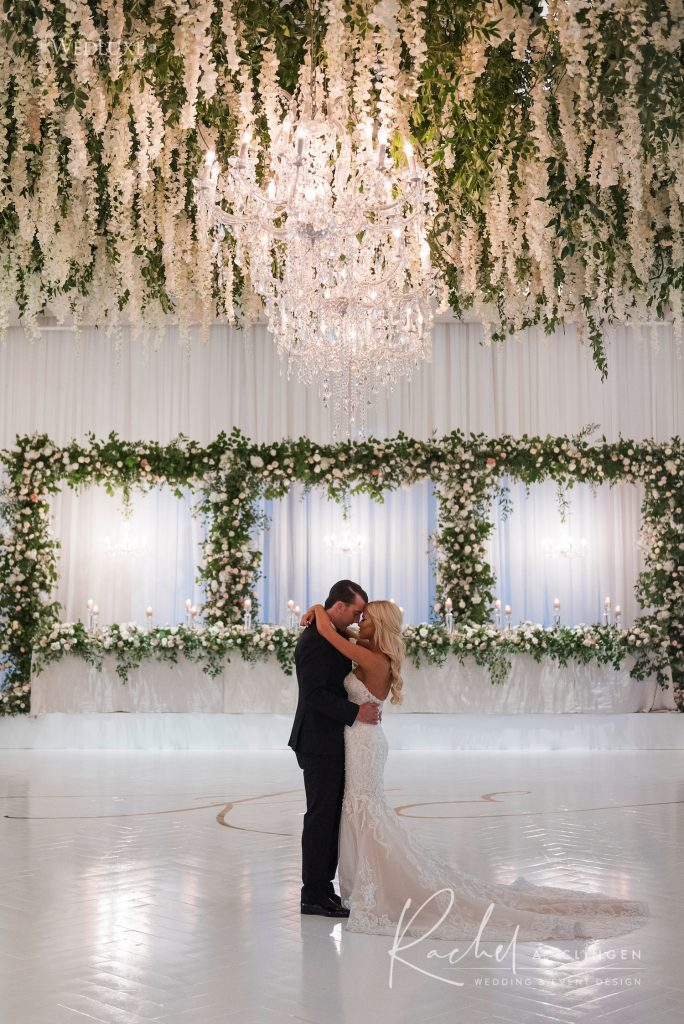 luxury wedding suspended flowers dance