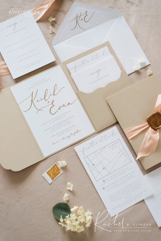 wedding stationery champahne