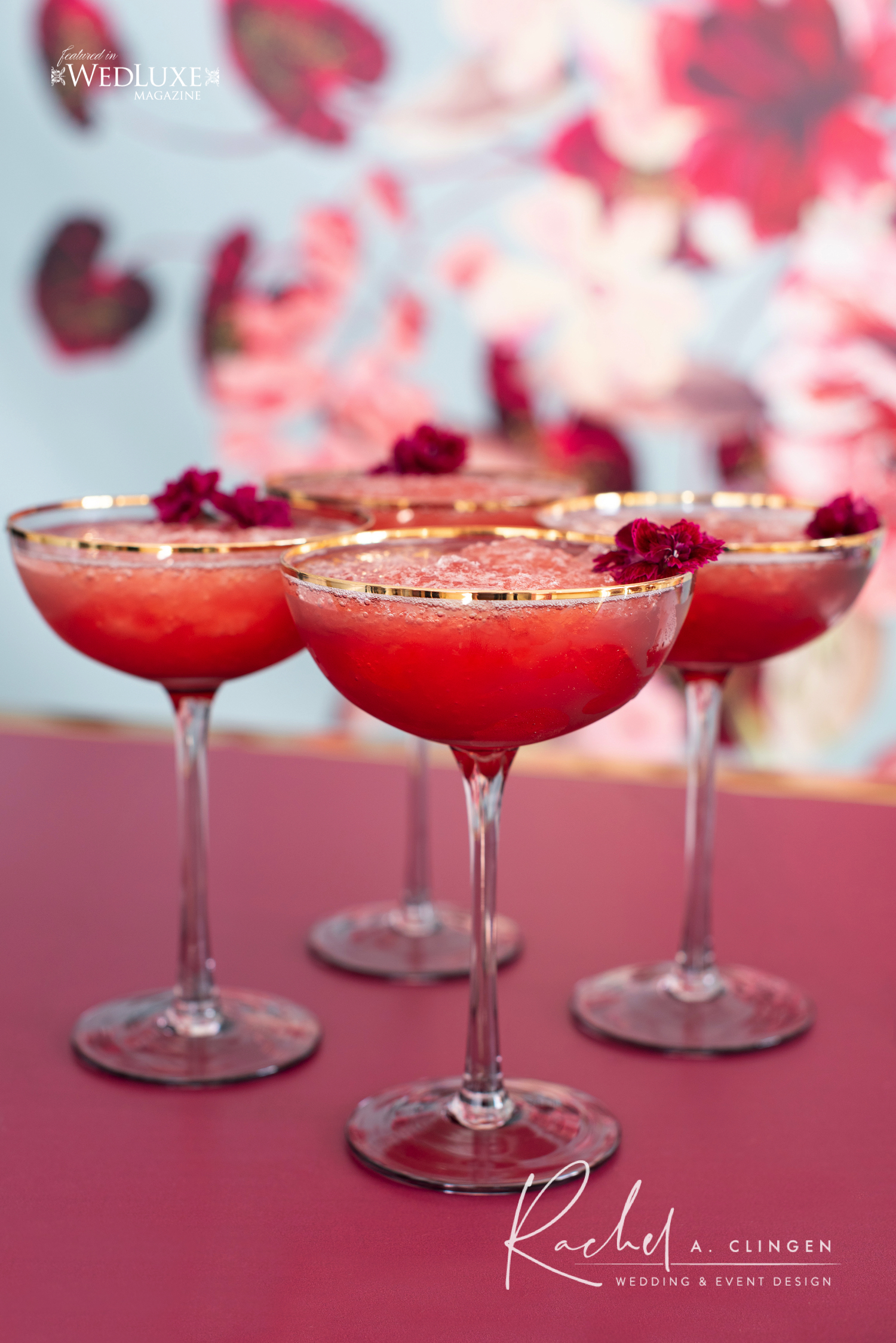 burgandy mauve wedding drinks