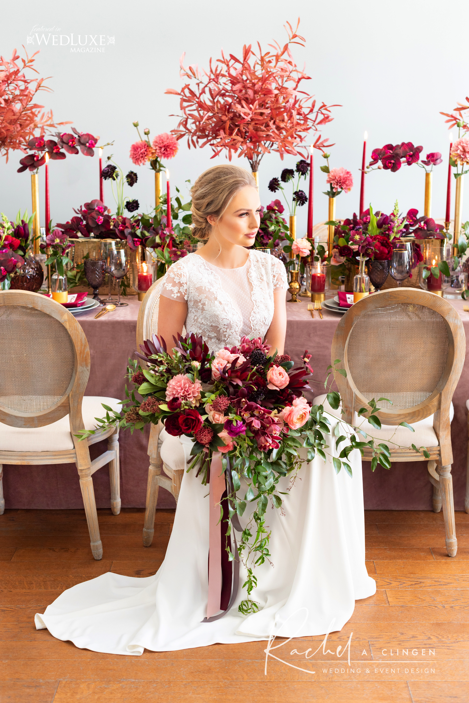 burgandy wedding table design