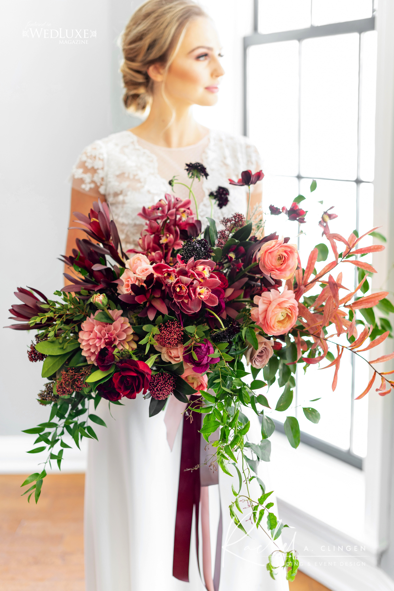 mauve burgandy wedding bouquet rachel a clingen