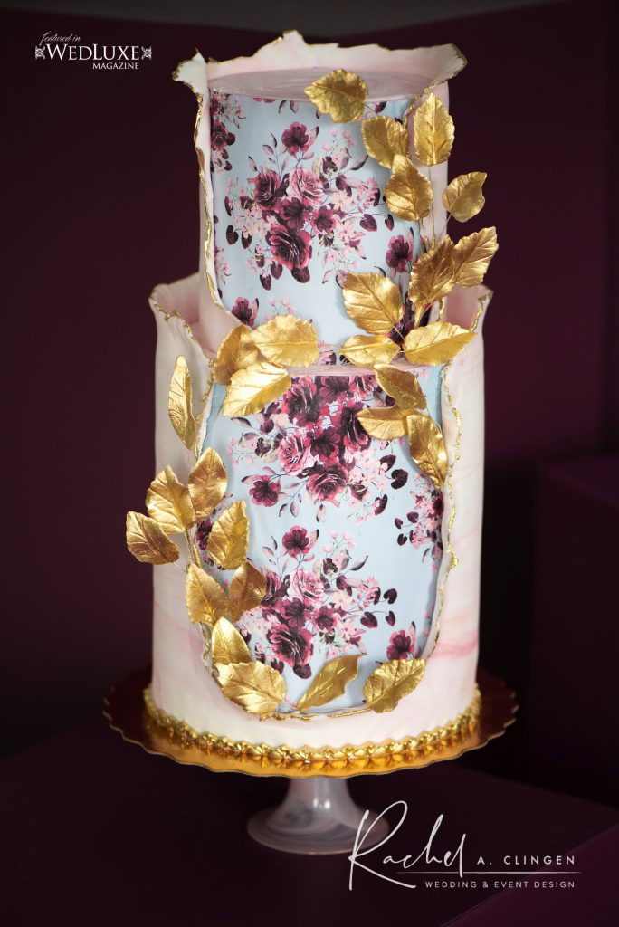 mauve burgandy wedding cake