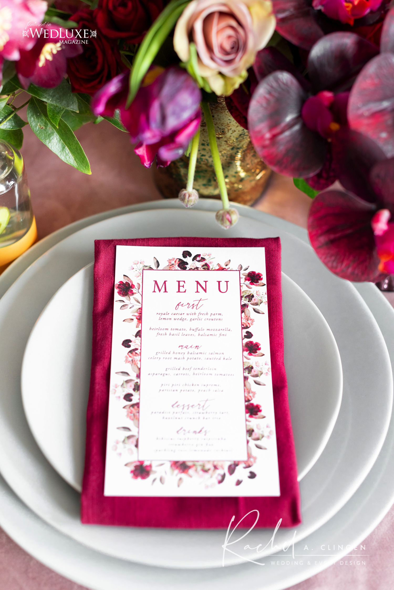 mauve burgandy wedding menu