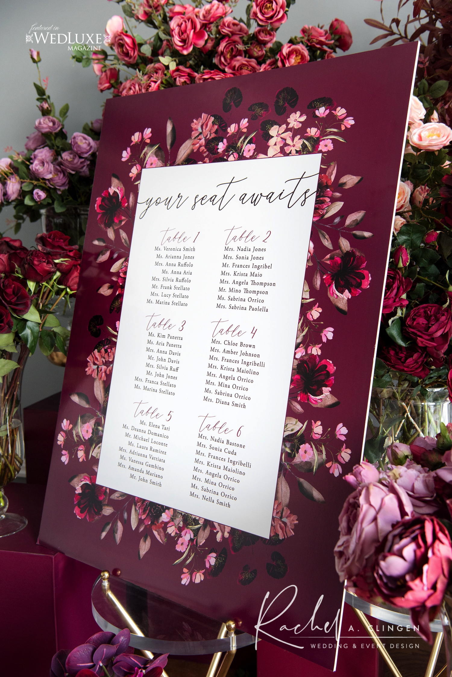 mauve burgandy wedding seating chart