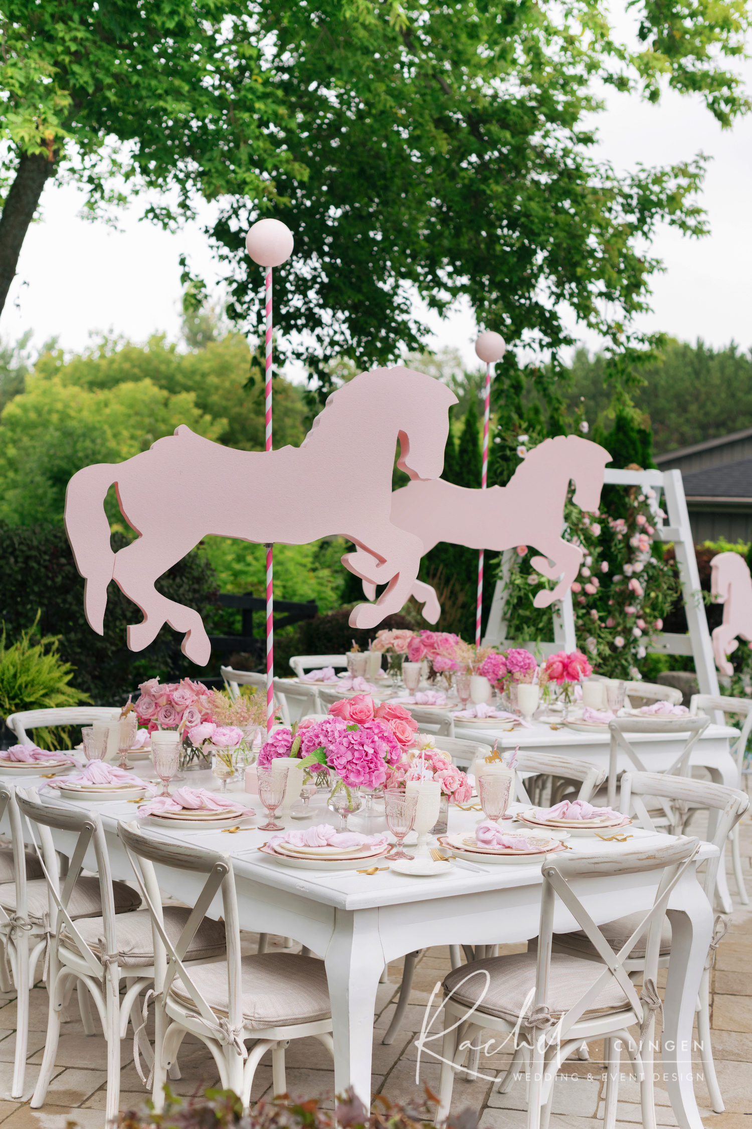 baby shower pink carousel design