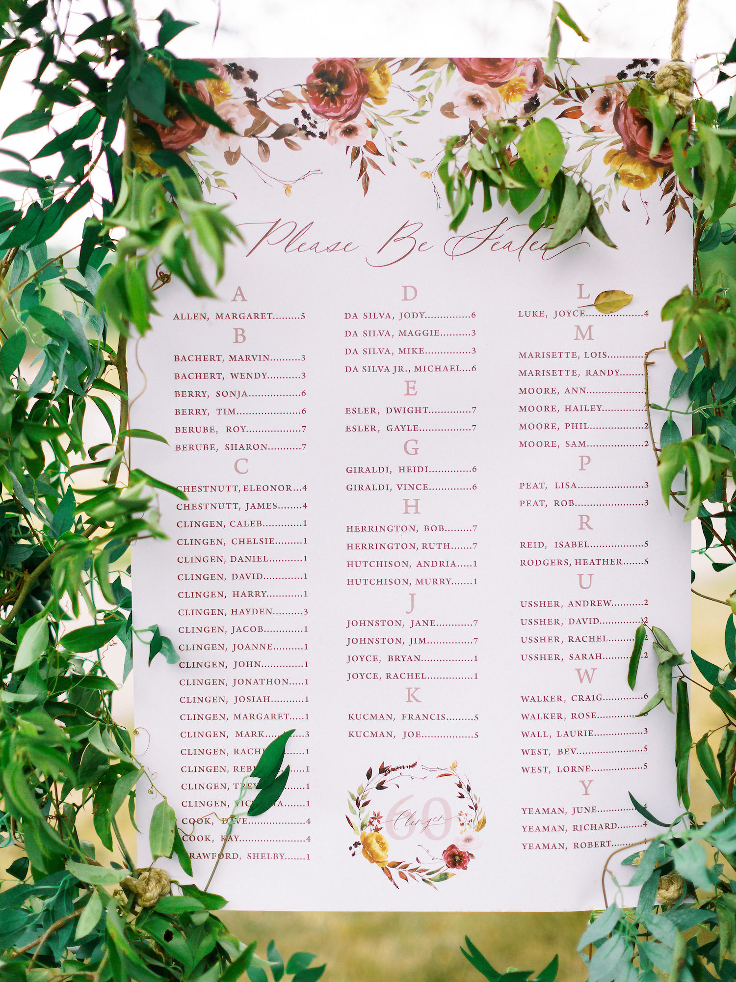 anniversary party seating chart
