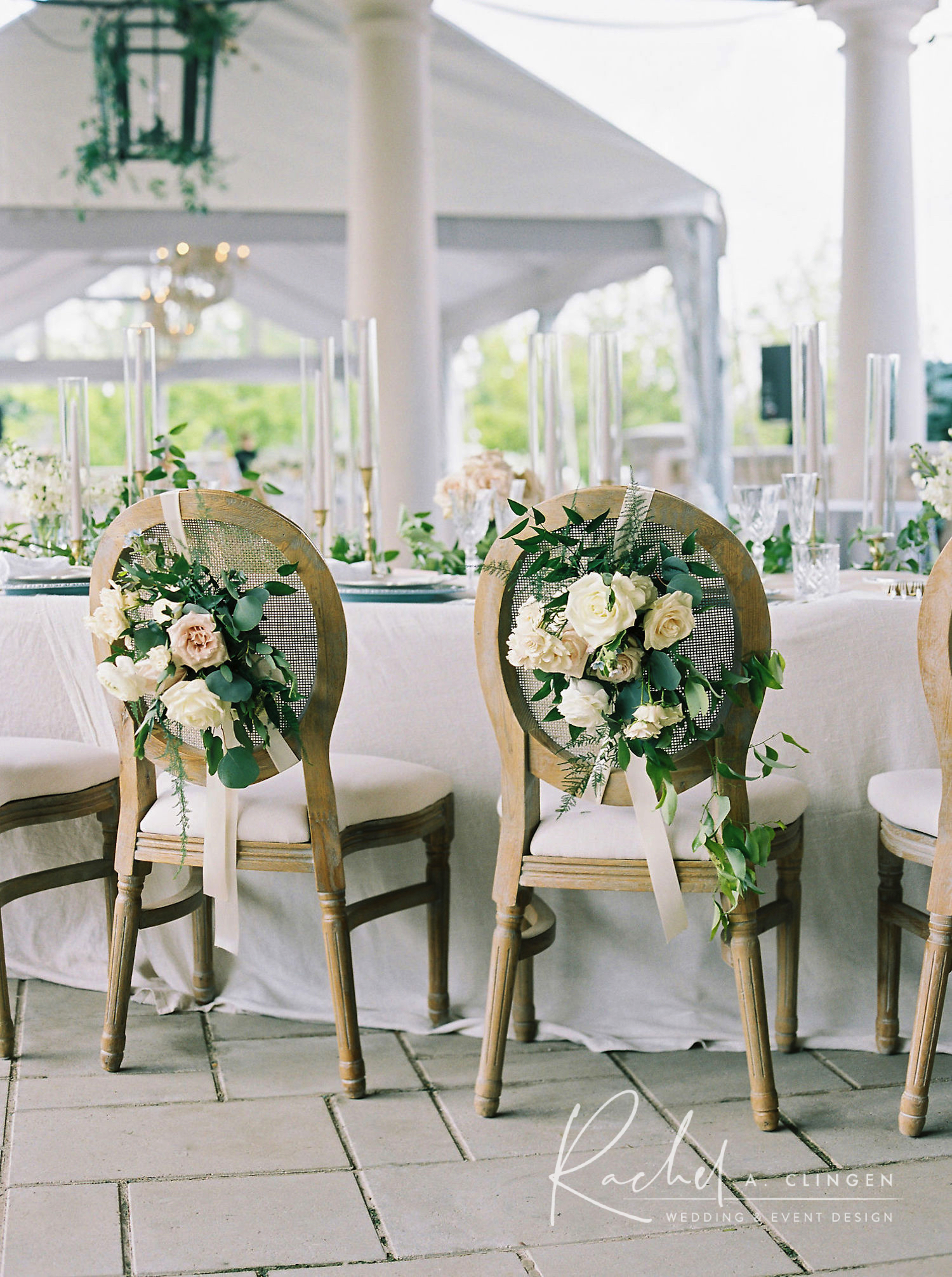 bride groom chair flowers