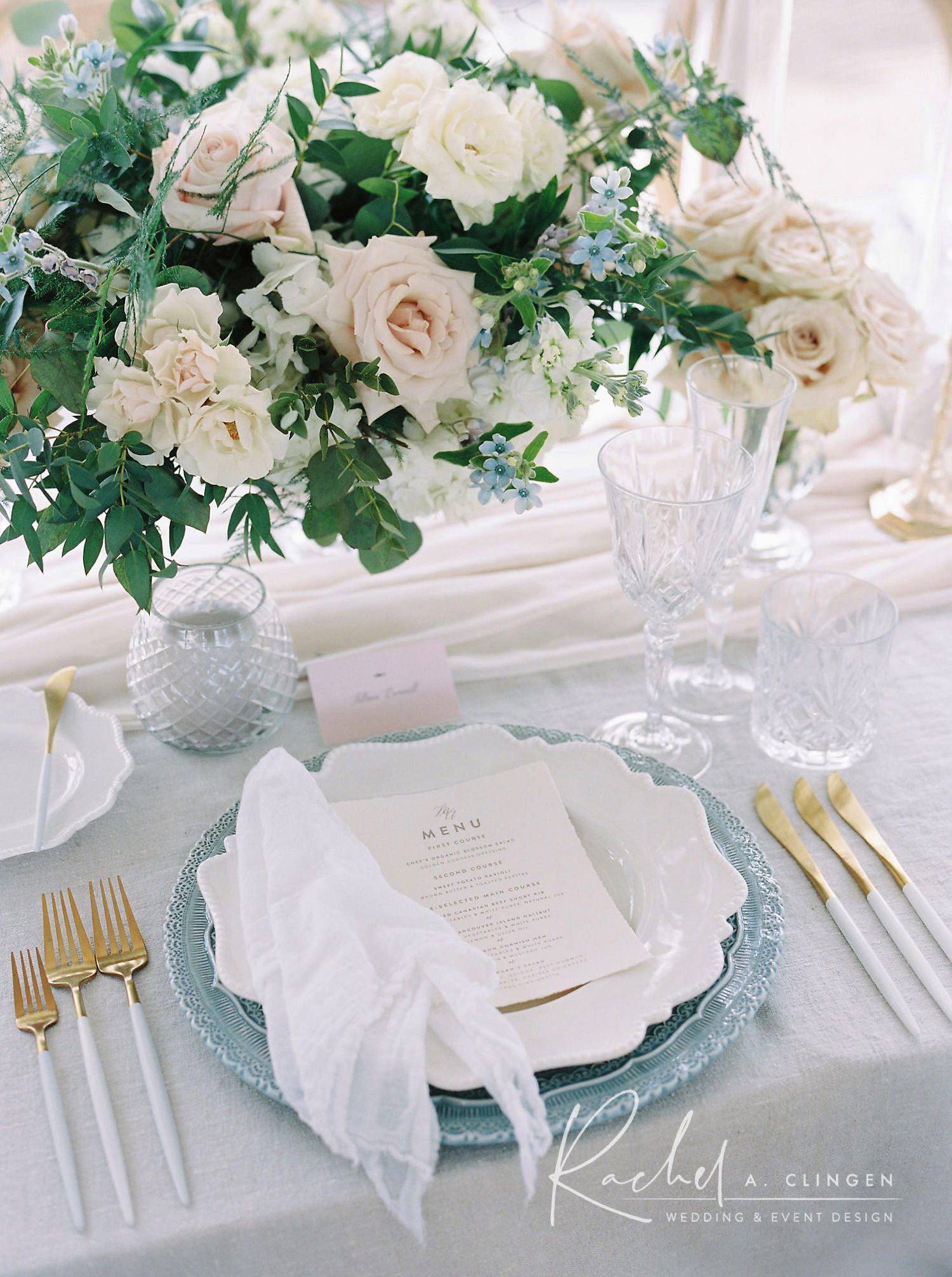 dusty blue ivory wedding decor toronto