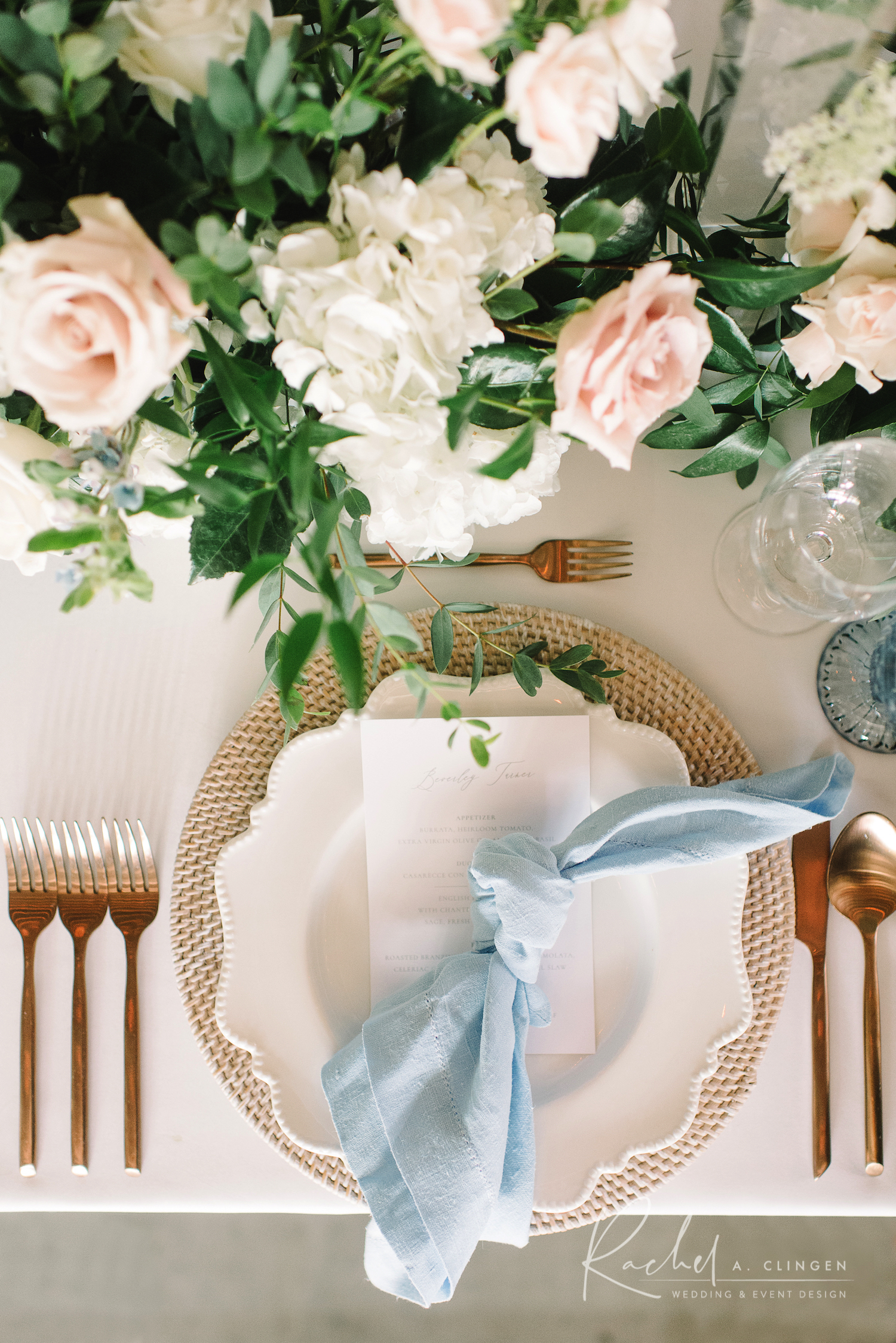 dusty blue wedding decor placesetting
